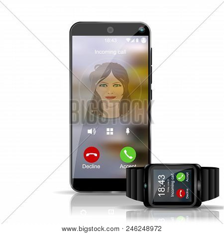 Smart Phone And Smart Watch Gadget Showing The Incoming Call Wireless Connection.