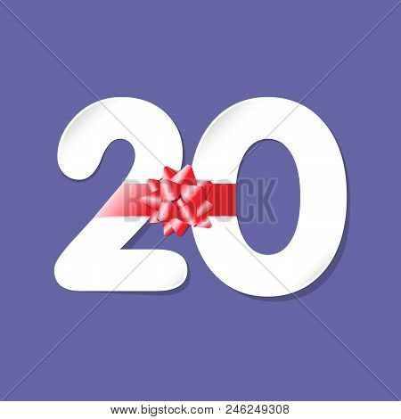 20 Years Old Logotype. Numbers 20th Favoured Paper, White Colour Greetings, Congratulating Celebrati