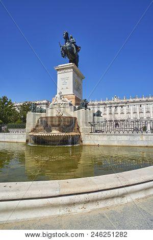 Madrid, Spain - June 20, 2018. Plaza De Oriente Square. Madrid, Spain. East Facade Of Royal Palace O
