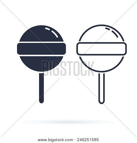 Vector Candy, Food Candy Illustration Isolated Sweet Snack, Eat Dessert. Delicious Lollipop Outline
