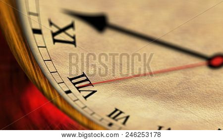 Retro Style Clock 3d Illustration. The Old Timer, Second Hand And Minute Hand With Roman Numerals.