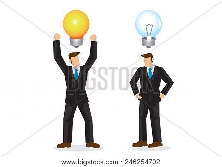 Two Businessmen With One With A Creative Idea. The Other Businessman Is Furious For Not Having Any I
