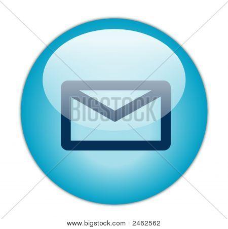 die Schaltfläche glasig Aqua blau e-Mail-Symbol