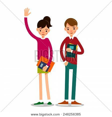 Couple Students. Young Man And A Girl Stand With Textbooks In Their Hands. Young Students Together P