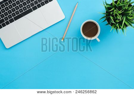 Office Desk Working Space - Flat Lay Top View Copy Space Of A Working Space With Laptop, A Coffee Cu