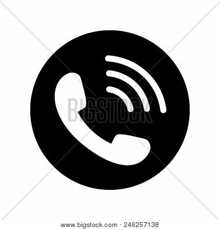 Phone Icon In Black Circle. Telephone Symbol In Flat Style Isolated On White Background. Phone Icon