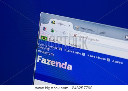 Ryazan, Russia - June 17, 2018: Homepage Of Fazenda Website On The Display Of Pc, Url - Fazenda.gov.