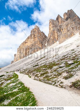 Tourist Path Under South Face Of Tre Cime Di Lavaredo, Dolomites, Italy.