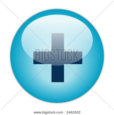 The Glassy Aqua Blue Plus Icon Button