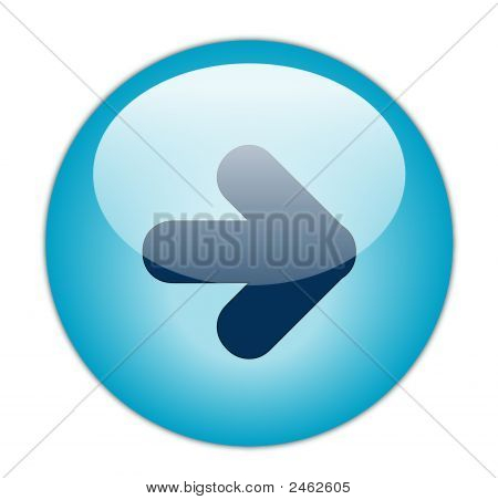 The Glassy Aqua Blue Right Icon Button