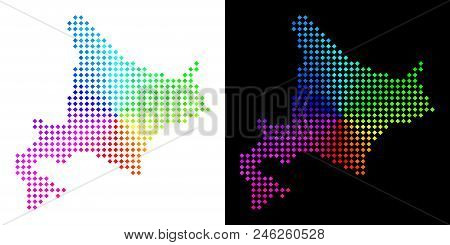 Spectrum Dotted Hokkaido Island Map. Vector Geographical Map In Bright Spectrum Colors With Circular