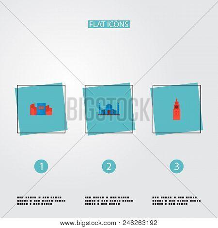Set Of Famous Icons Flat Style Symbols With Shibuya, Kremlin, Taj Mahal And Other Icons For Your Web