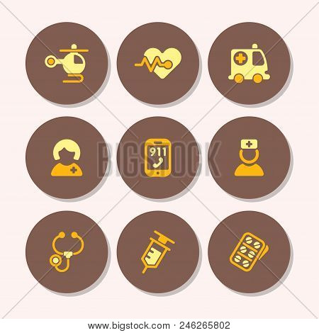 Health Medical Emergency Vector Icons. Healthcare Medication Drug Design. Laboratory Science Chemica