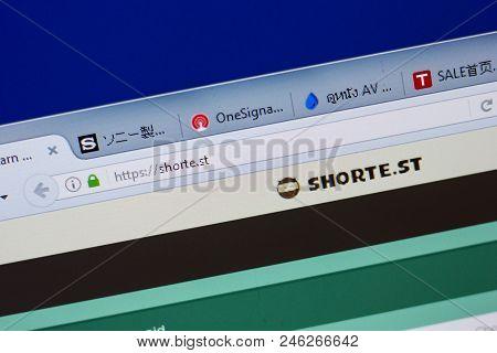 Ryazan, Russia - June 17, 2018: Homepage Of Shorte.st Website On The Display Of Pc, Url - Shorte.st