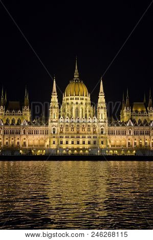 Parliament Building And River Danube At Night, Budapest