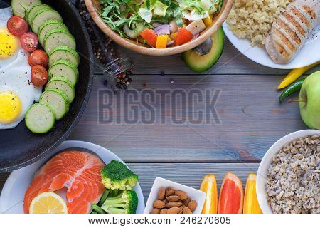 Health And Fitness Food In Lunch Boxes. Set Meal For The Whole Day.