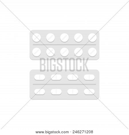 Pills In A Blister Pack. Flat Style. Isolated On White Background
