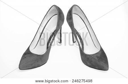 Footwear For Women With Thin High Heels. Elegant Stiletto Shoes Concept. Pair Of Fashionable High He