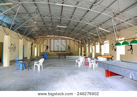 View Of Empty Sport Room In Big Hangar With Table Football, Place For Board Games, Table Tennis. Fre