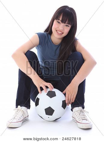 Beautiful Teenager Japanese Soccer Student Girl