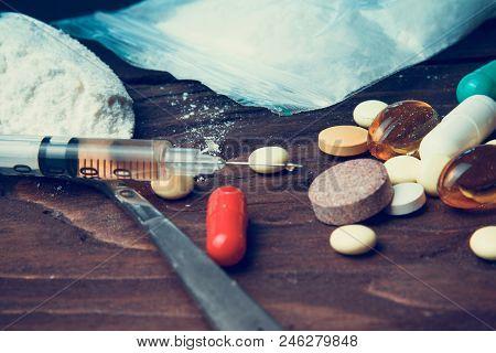 Drug Concept. Use Illicit Drug Abuse .addiction Heroin.injection, Doping. Opium Epidemic. Toning, Se