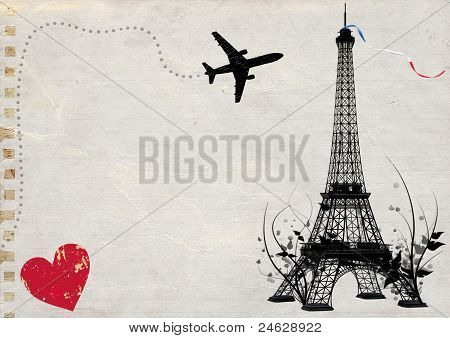 paris eiffel tower empty card message illustration poster