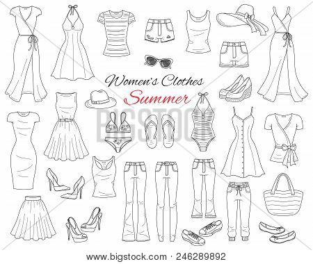 Female Fashion Set. Women Cothes Collection. Summer Outfit Dresses, Skinny Jeans, Denim Shorts, Tops