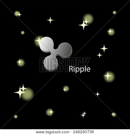 Silver Ripple Sign In Space. The Virtual World Of Crypto-currency. Digital Currency Sign On A Dark C