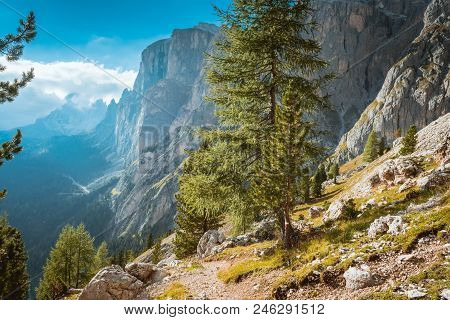 View From Mountains Sella Ronda Dolomites Italy