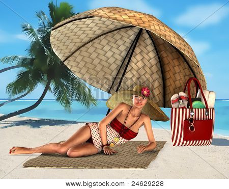 woman on a tropical beach under umbrella