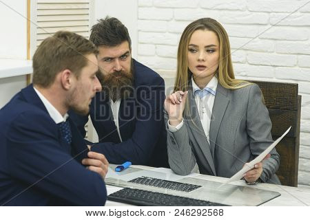 Business Partners Or Businessmen At Meeting, Office Background. Business Consulting Concept. Woman L