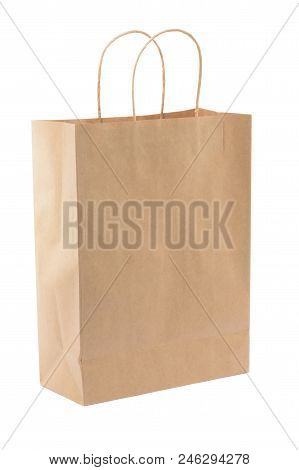 Brown Paper Shopping Bag On White Background. Empty Area.