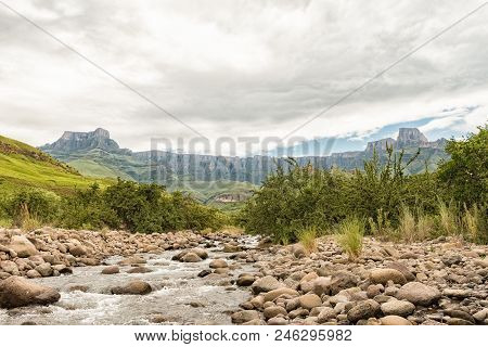 The Tugela River, With The Amphitheatre In The Kwazulu-natal Drakensberg, In The Back