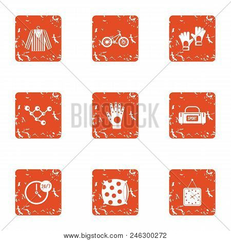 Textile Icons Set. Grunge Set Of 9 Textile Vector Icons For Web Isolated On White Background