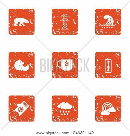 Winter Attire Icons Set. Grunge Set Of 9 Winter Attire Vector Icons For Web Isolated On White Backgr