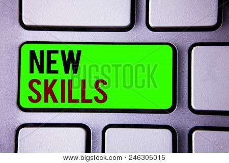 Text Sign Showing New Skills. Conceptual Photo Recently Acquired Learned Abilities Knowledge Compete