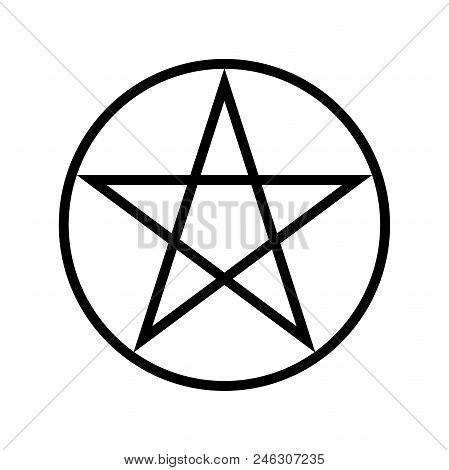 Wicca Pentagram Religious Symbol Simple Icon. Wicca Pentagram
