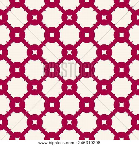 Elegant Red Vector Seamless Pattern In Asian Style. Simple Geometric Ornament, Grid, Lattice, Mesh,