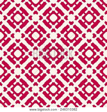 Vector Seamless Pattern. Red And White Christmas Background. Simple Geometric Texture With Cross Sha