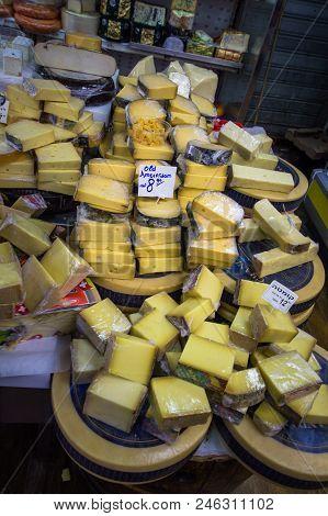 Tel Aviv, Israel - April 20, 2017: Lot Of Cheese At Chees Store. Israel