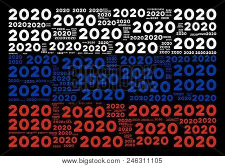 Russian Flag Mosaic Made Of 2020 Year Texts. Vector 2020 Year Text Design Elements Are Organized Int