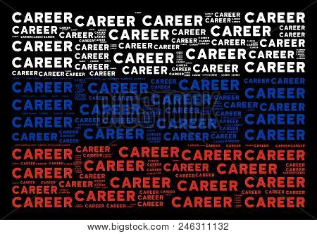 Russia Flag Pattern Designed Of Career Texts. Vector Career Text Objects Are United Into Conceptual
