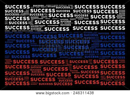 Russia Flag Concept Made Of Success Texts. Vector Success Texts Are Composed Into Conceptual Russia