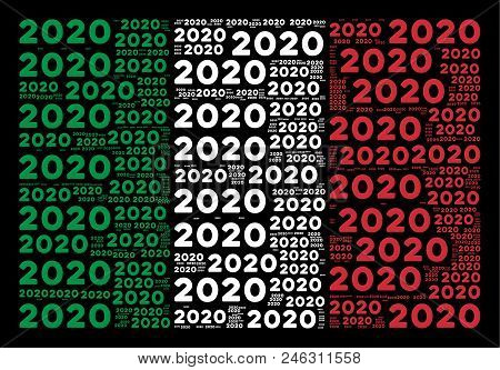 Italian Official Flag Flat Collage Formed Of 2020 Year Text Items On A Black Background. Vector 2020