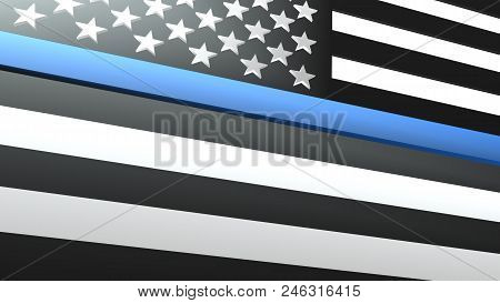 Close Up 3d Illustration Of Usa Flag Thin Blue Line Police Support. Great Background For Your Next P