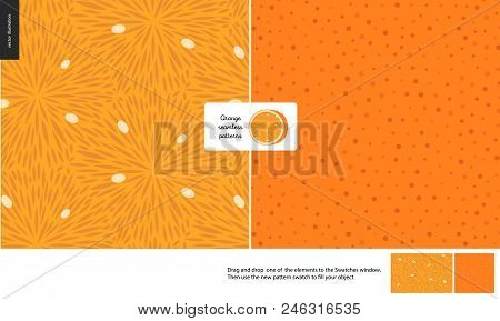 Food Patterns, Summer - Fruit, Orange Texture, Small Half Of An Orange Image In The Center - Two Sea