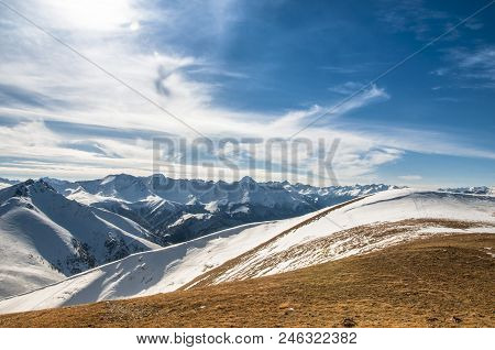 Snowy Caucasus Mountains, The Path To Adventure.