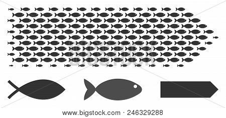 Fish Direction Arrow Halftone Composition. Vector Fish Pictograms Are Combined Into Direction Arrow