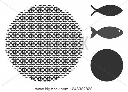 Fish Filled Circle Halftone Collage. Vector Fish Items Are Grouped Into Filled Circle Collage. Eco D