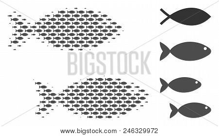 Fish Pair Halftone Composition. Vector Fish Symbols Are Arranged Into Fish Pair Composition. Fishery